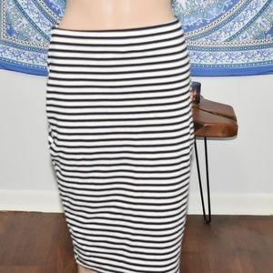 Box black and white striped skirt